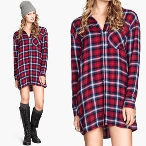H&M Divided Red Plaid Button Down